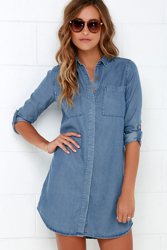 Cute Chambray Shift Dress - Denim Dress - Long Sleeve Dress