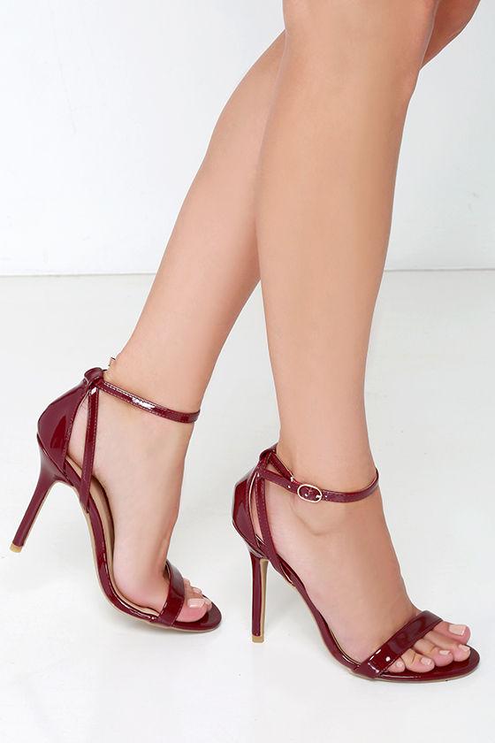 58ea547143a0 Cute Burgundy Heels - Ankle Strap Heels - Dress Sandals - 22.00