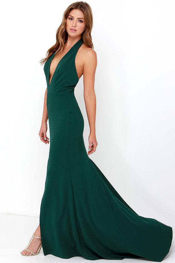 Forest green gown halter dress backless dress maxi for Forest green wedding dress