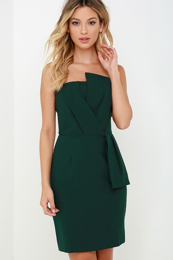 Chic Dark Green Dress - Strapless Dress - Sheath Dress - $102.00