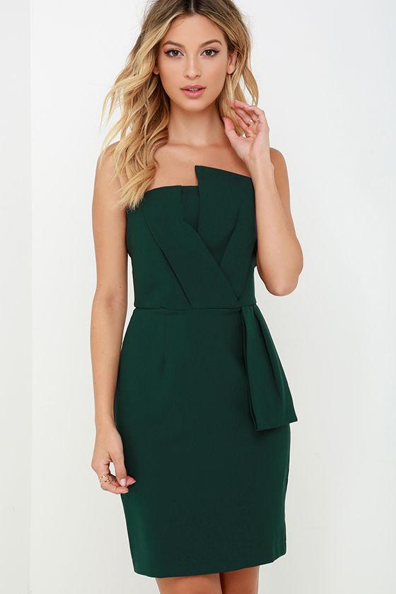 Chic Dark Green Dress - Strapless Dress - Sheath Dress - $102.00