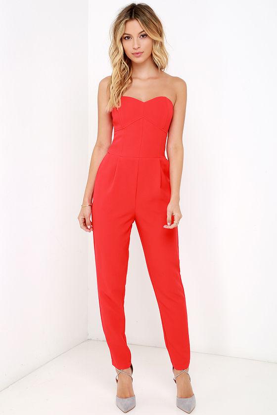 69a7c641878a Stylish Red Jumpsuit - Strapless Jumpsuit - Boned Jumpsuit - $99.00
