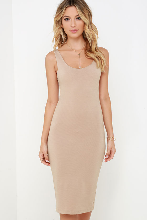704efa2c2f5e Chic Dark Beige Dress - Bodycon Dress - Midi Dress -  44.00