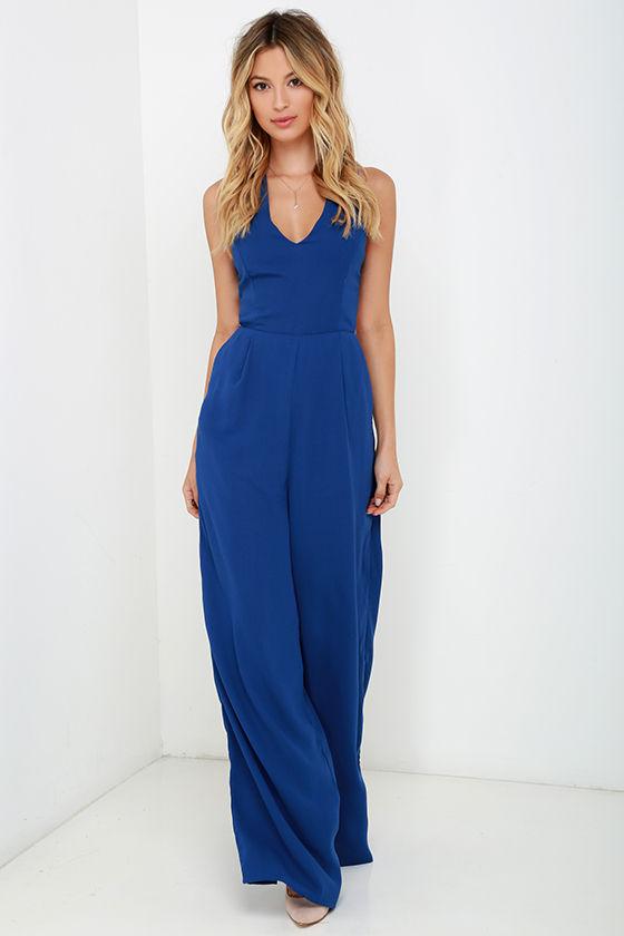 Chic Royal Blue Jumpsuit - Sleeveless Jumpsuit - Backless Jumpsuit ...