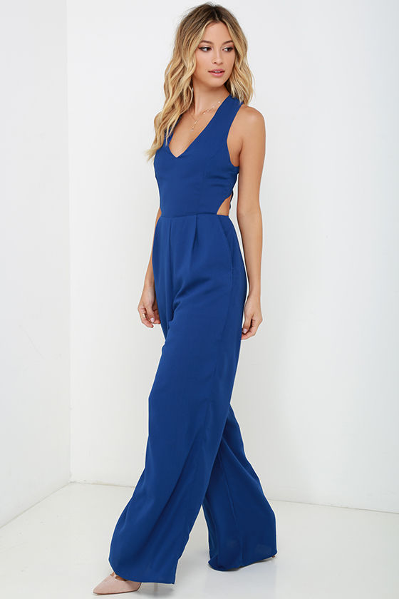 3400285184 Chic Royal Blue Jumpsuit - Sleeveless Jumpsuit - Backless Jumpsuit ...