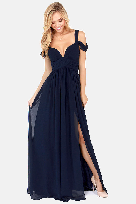 Elegant Navy Blue Dress - Maxi Dress - Cocktail Dress ... - photo #11