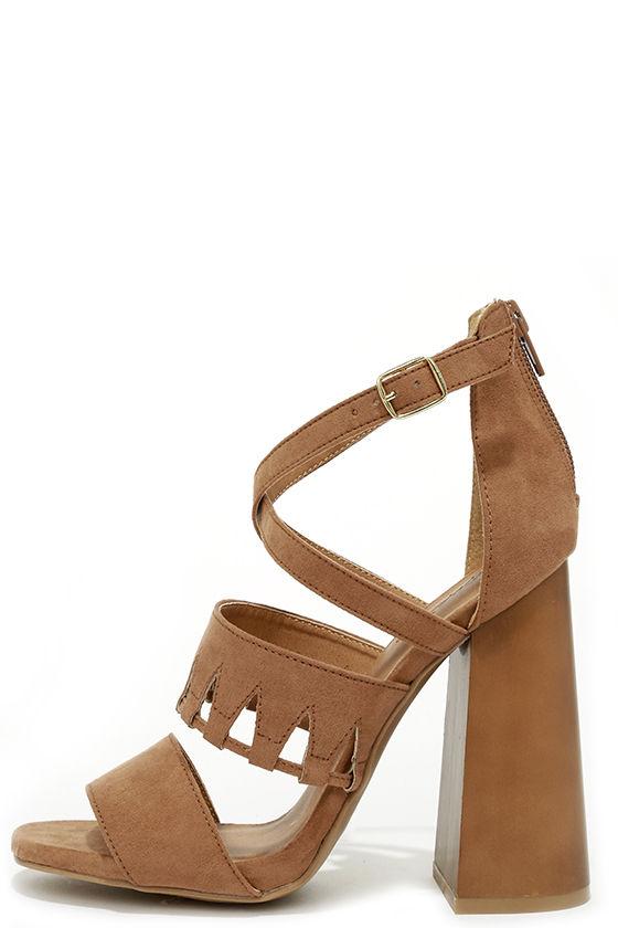 Get Down Tonight Camel High Heel Sandals 1