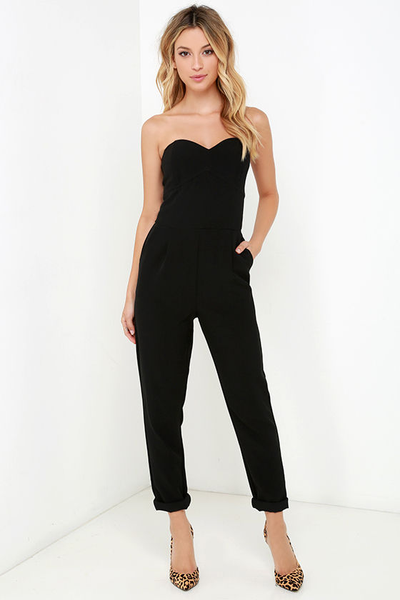 Stylish Black Jumpsuit - Strapless Jumpsuit - Boned Jumpsuit - $99.00