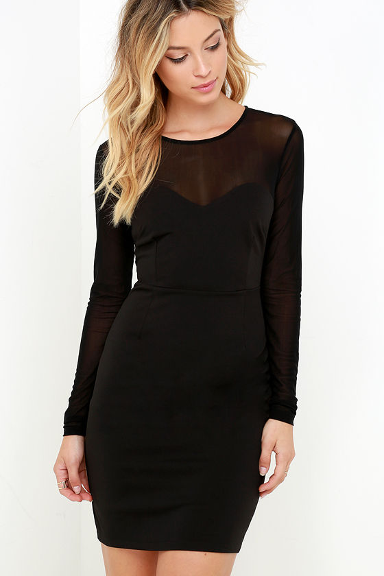 Sexy Black Dress - LBD - Mesh Dress - Long Sleeve Dress - $69.00