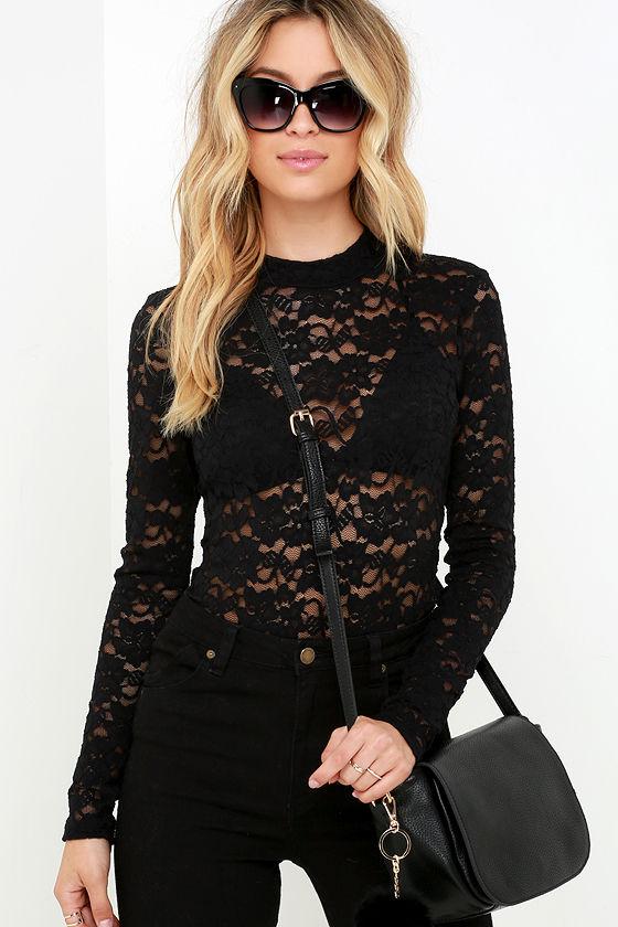 3b370d76665 Sexy Black Bodysuit - Sheer Lace Bodysuit - Long Sleeve Bodysuit -  37.00