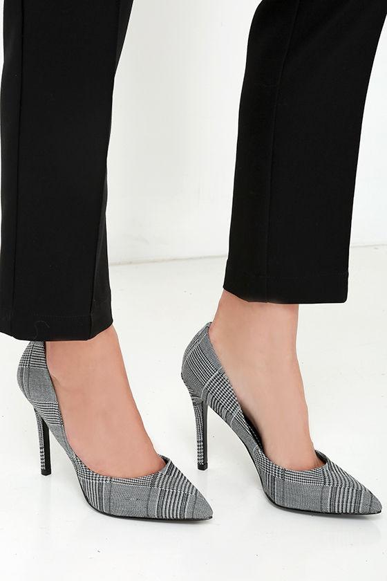 b7e9981c13a Pretty Black and White Pumps - Pointed Pumps - Plaid Heels -  97.00