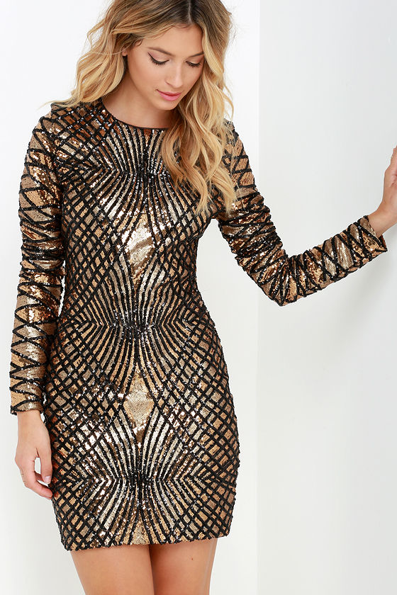 Sexy Black and Gold Dress - Sequin Dress - Long Sleeve Dress - $178.00