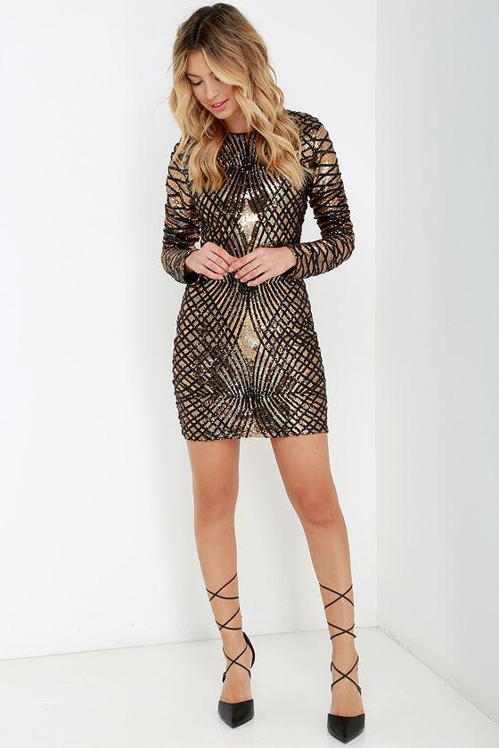 Sexy Black and Gold Dress - Sequin Dress - Long Sleeve Dress - $178.00