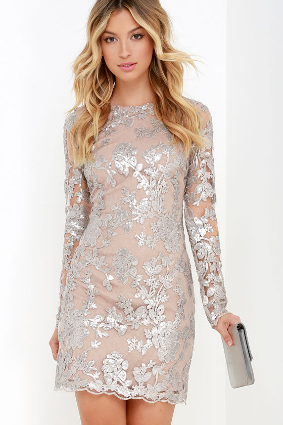 Dress the Population Grace Dress - Silver Sequin Dress - Long ...