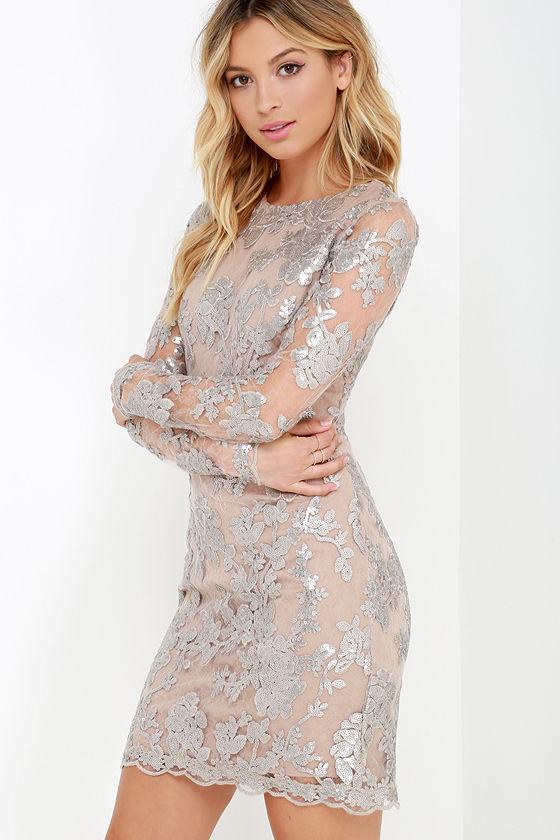 Dress the Population Grace Dress - Silver Sequin Dress - Long ...