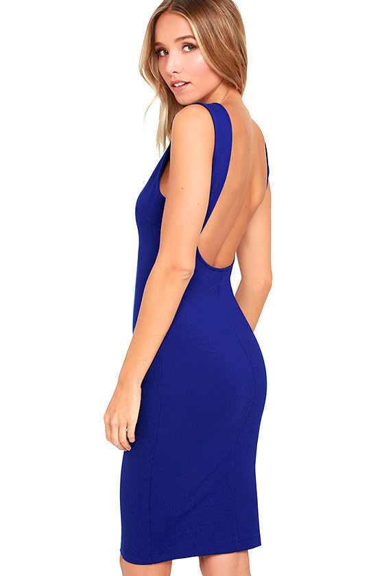 Chic Royal Blue Dress - Midi Dress - Backless Dress - $39.00