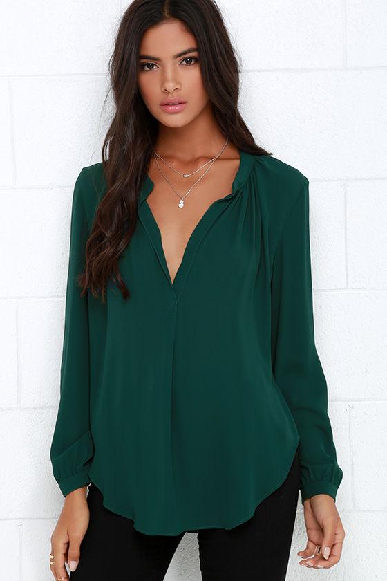 812bed1c1f0331 Chic Dark Green Top - Long Sleeve Top - Deep V Top -  44.00