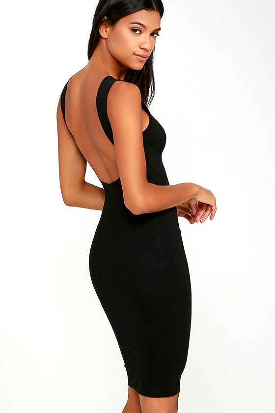 Chic Black Dress - LBD - Midi Dress - Backless Dress - $39.00