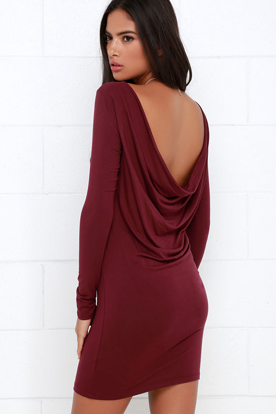 03364e06534f Sexy Burgundy Dress - Long Sleeve Dress - Backless Dress - $34.00
