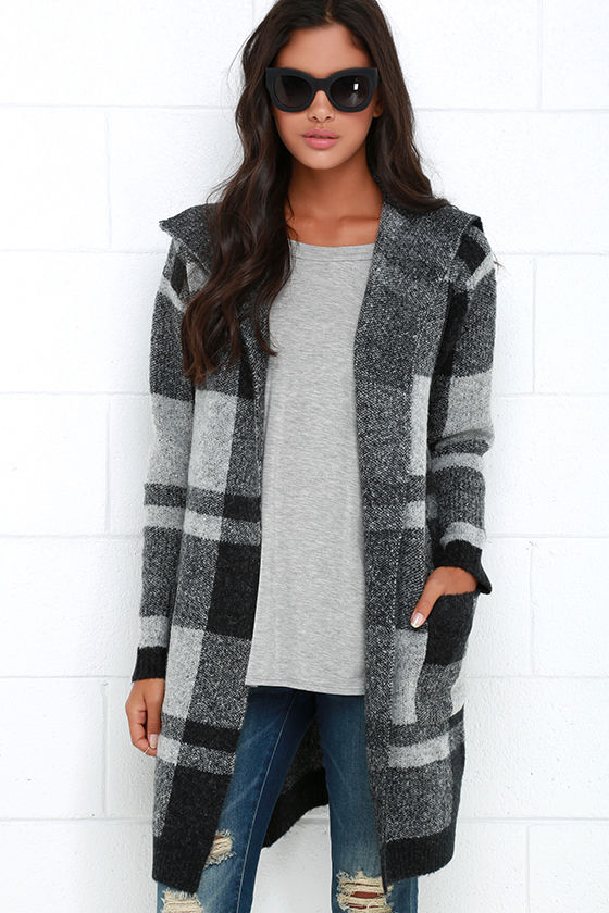 Black and Grey Sweater - Plaid Jacket - Long Cardigan - $98.00