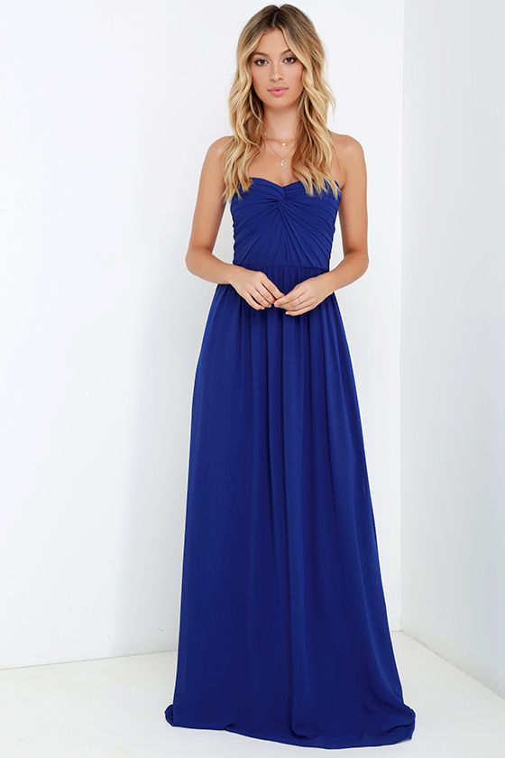 Pretty Royal Blue Dress - Strapless Dress - Maxi Dress - Blue Gown ...