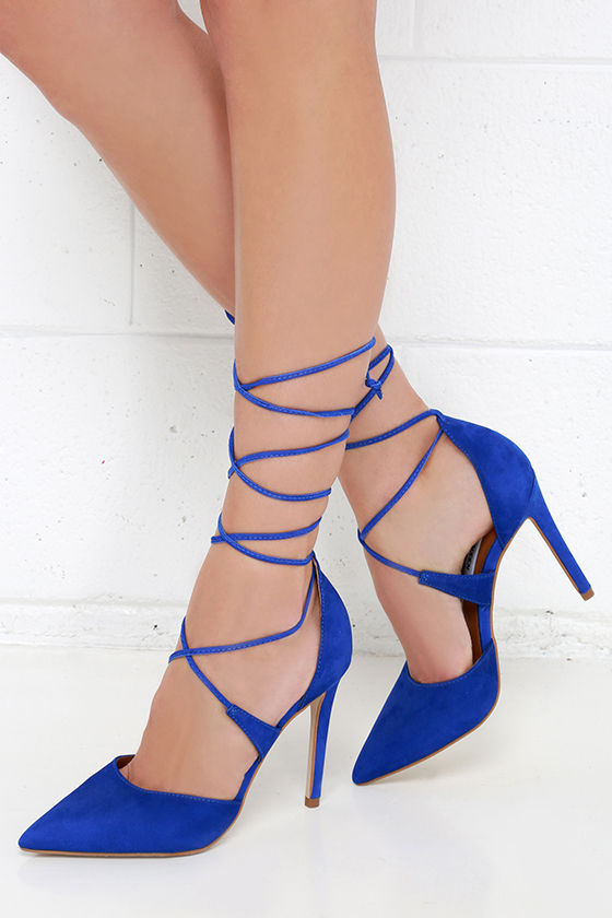 a8b63051e1b Steve Madden Raela Blue Leather Pointed Lace-Up Heels