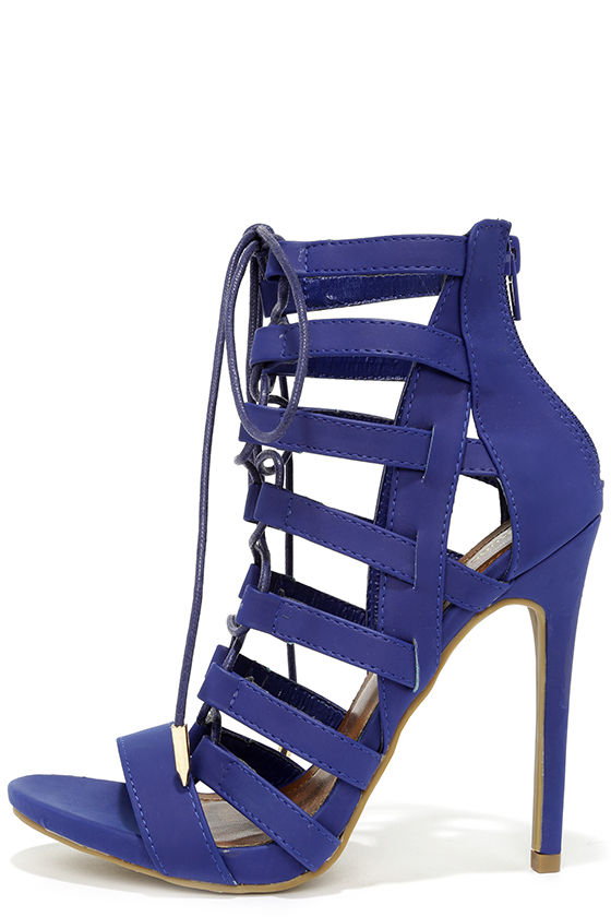Sexy Blue Heels - Caged Heels - Lace-Up Heels - $43.00