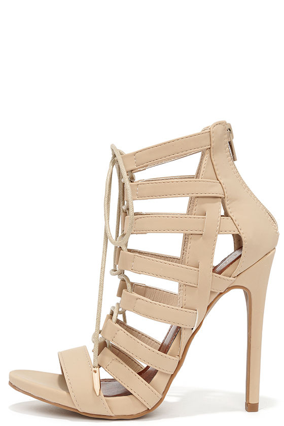 Sexy Nude Heels - Caged Heels - Lace-Up Heels - $43.00