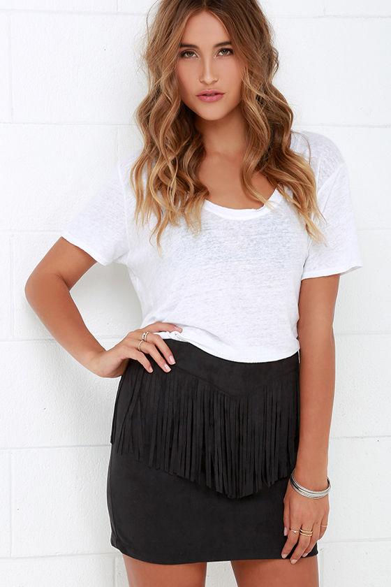 Fringe Skirt - Black Skirt - Suede Skirt - Mini Skirt - $44.00
