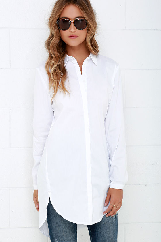 Mink Pink Call Me Crazy - Button-Up Top - Long Sleeve Top - White ...