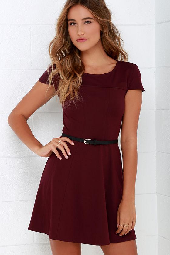 46843b2c2 Burgundy Dress - Cap Sleeve Dress - Short Sleeve Dress -  86.00