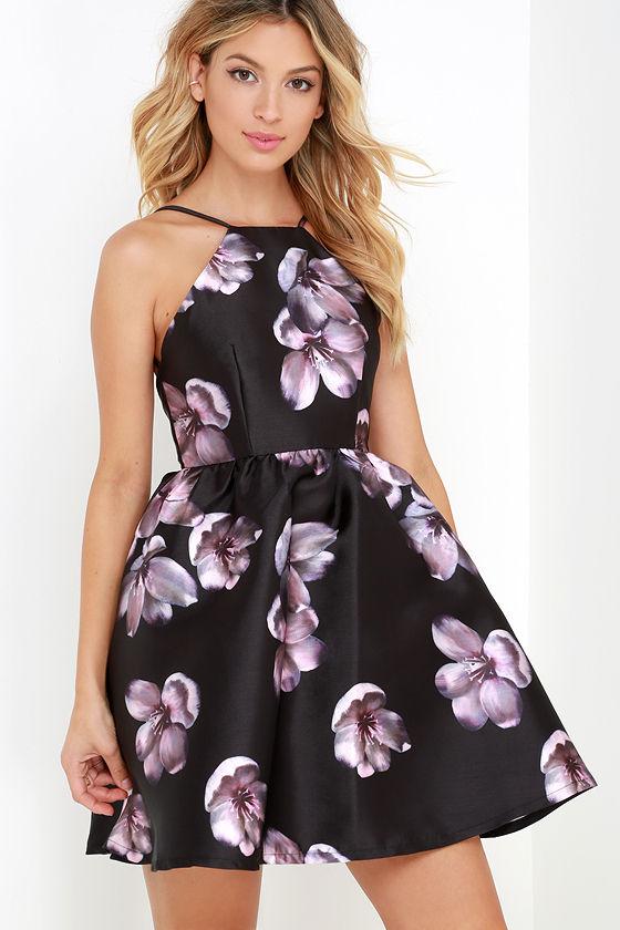 Black Floral Print Dress - Skater Dress - Backless Dress - Fit-and ...