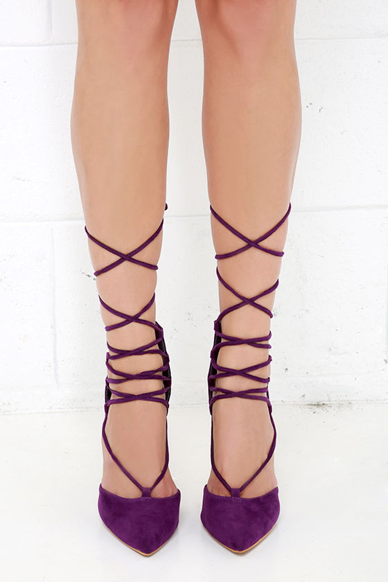 95dffcaf78e Cute Purple Heels - Lace-Up Heels - Caged Heels -  36.00
