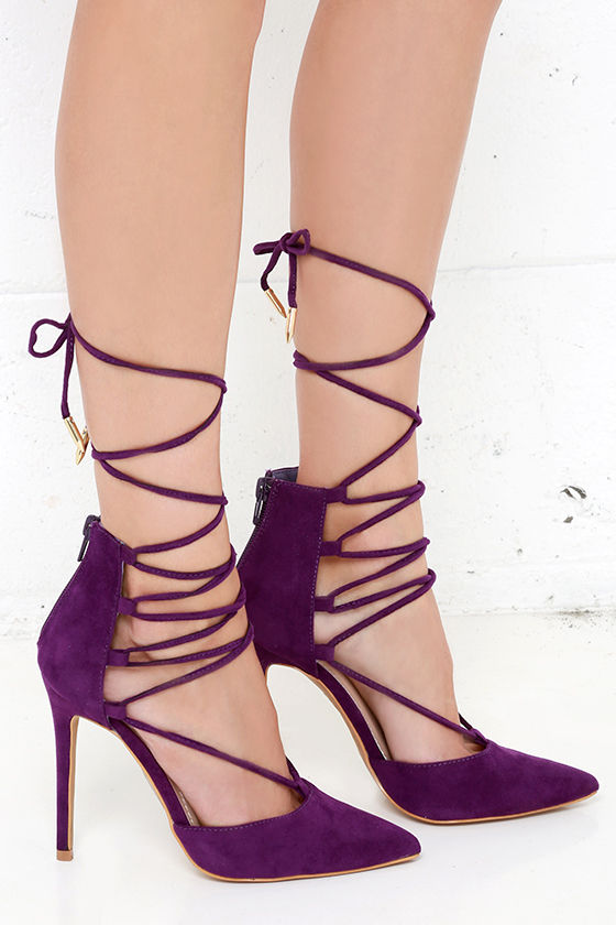Cute Purple Heels - Lace-Up Heels - Caged Heels - $36.00