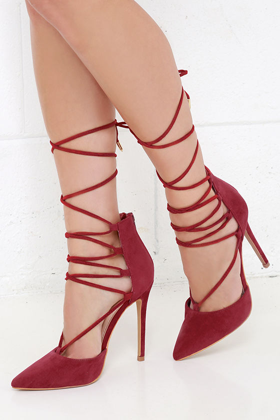 Cute Wine Red Heels Lace Up Heels Caged Heels 36 00