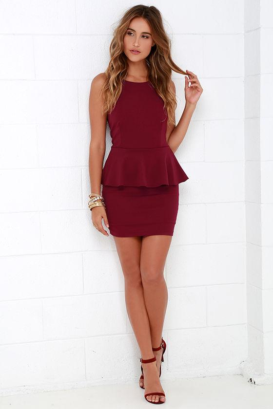 aa4bcd54f21 Cute Burgundy Dress - Peplum Dress - Sleeveless Dress -  43.00