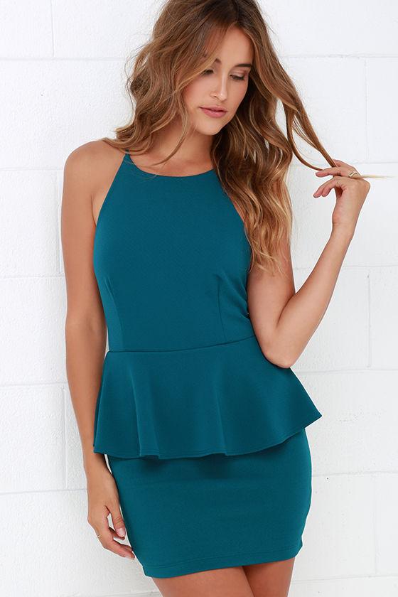 Cute Teal Blue Dress - Peplum Dress - Sleeveless Dress - $43.00