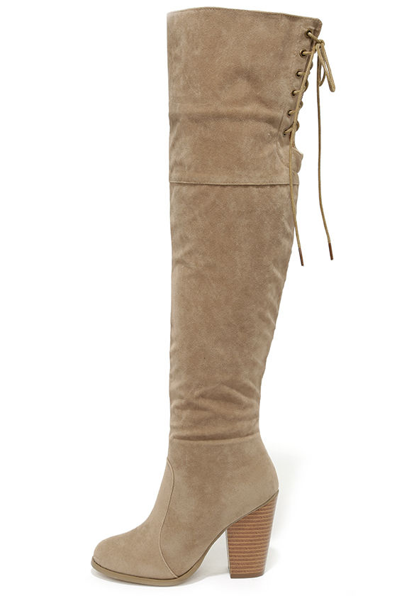 12bc0532154 Nude Over the Knee Boots - Vegan Boots - High Heel Boots