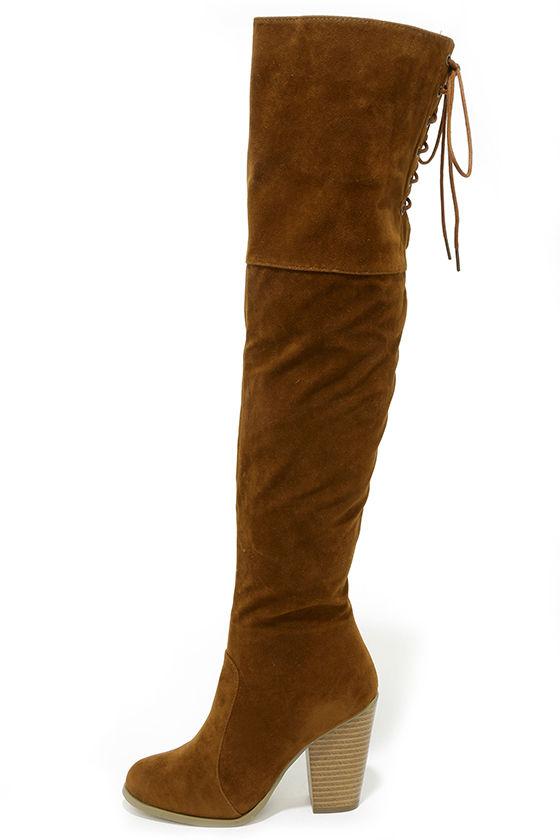 Over the Knee Boots - Vegan Suede Boots - High Heel Boots - OTK ...