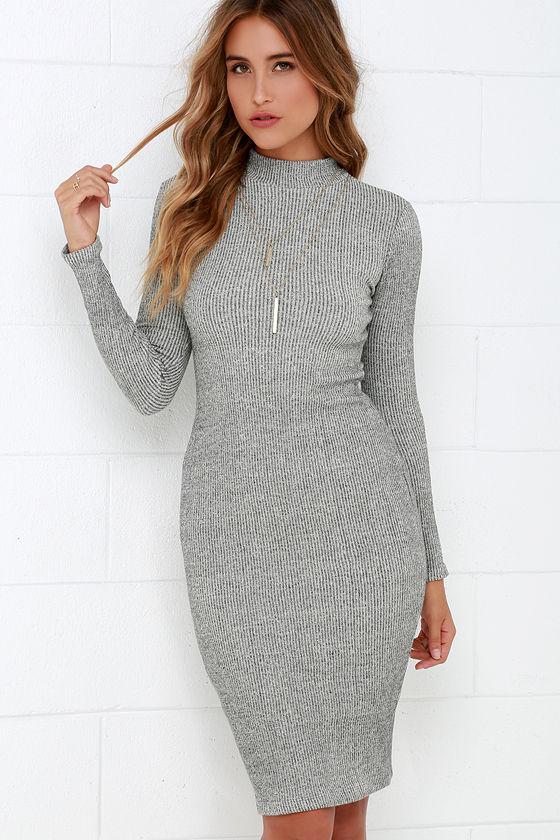 Chic Grey Dress - Midi Dress - Bodycon Dress - Sweater Dress - $59.00