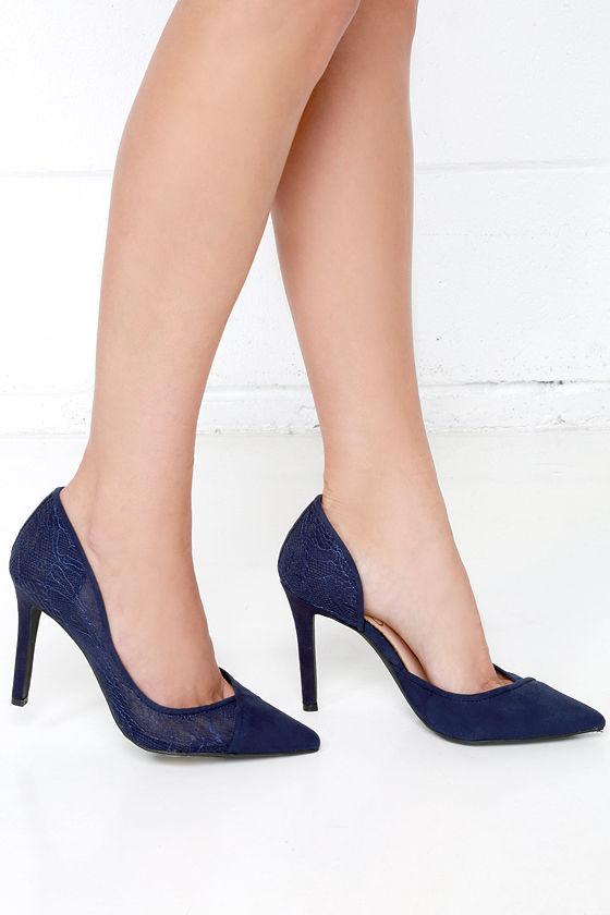 2f9ceace755c Jessica Simpson Cavilla - Blue Heels - Lace Pumps - D Orsay Pumps ...