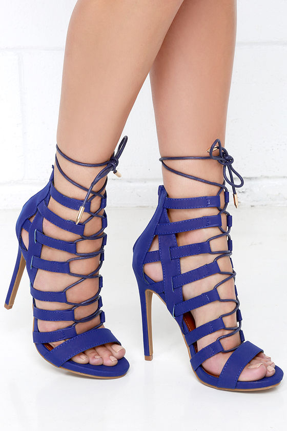 11725cf1c52e Sexy Blue Heels - Caged Heels - Lace-Up Heels -  43.00