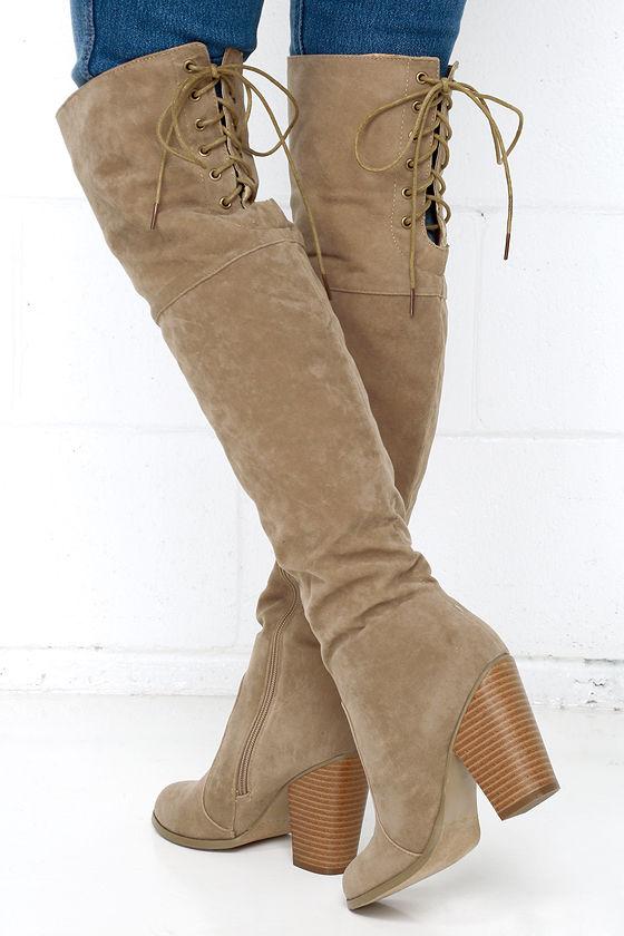8c9565f91d0 Nude Over the Knee Boots - Vegan Boots - High Heel Boots