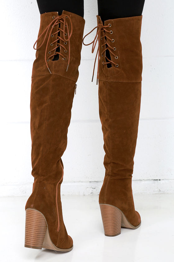 ef68b35b951 Tan Over the Knee Boots - Vegan Boots - High Heel Boots