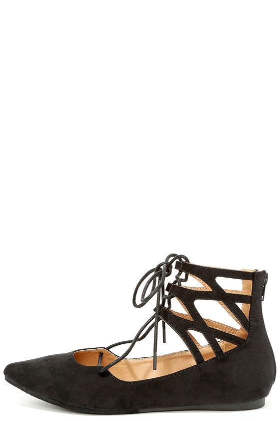 0215f69716fe Cute Cutout Flats - Black Lace-Up Flats - Black Flats