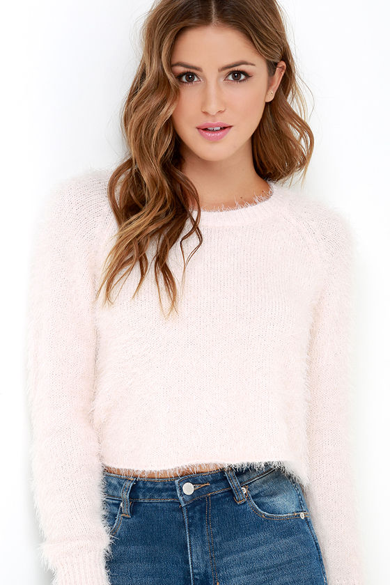 Cute Light Pink Sweater - Fuzzy Sweater - Cropped Sweater - $59.95