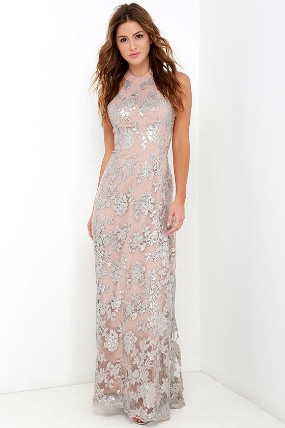 33c1fbe795 Sequin Gown - Silver and Beige Dress - Maxi Dress - Backless Dress ...