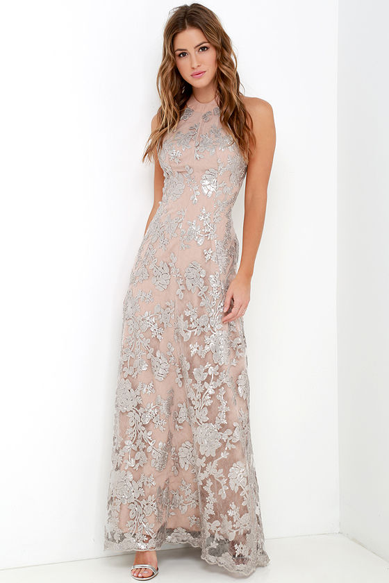 Sequin Gown - Silver and Beige Dress - Maxi Dress - Backless Dress ...