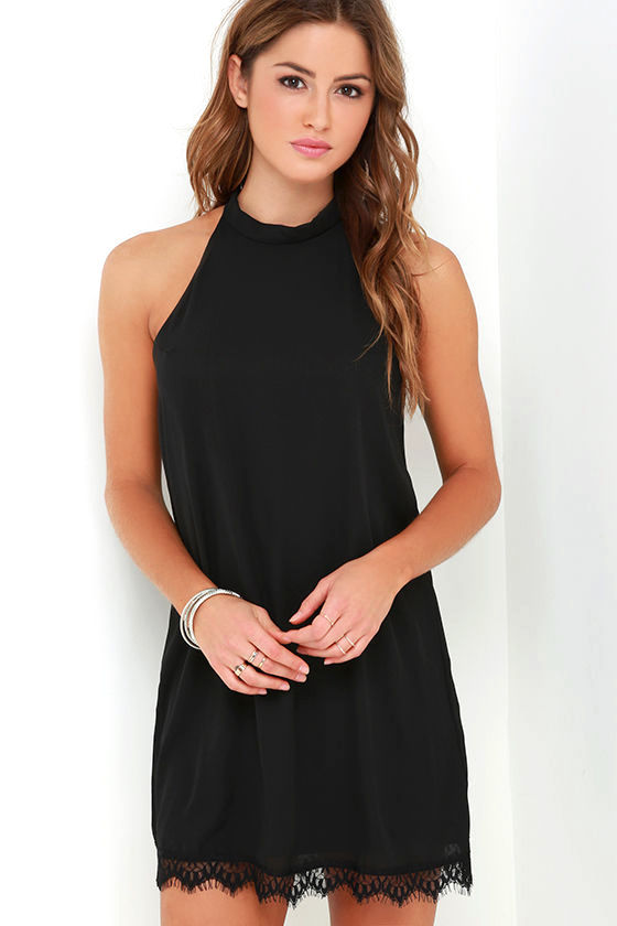 Black Dress - Lace Dress - LBD - Halter Dress - $39.00