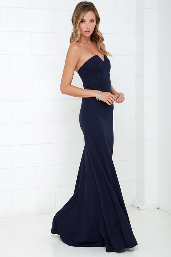 Navy Blue Gown - Strapless Dress - Bustier Dress - Maxi Dress - $78.00